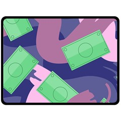 Money Dollar Green Purple Pink Double Sided Fleece Blanket (large)  by Alisyart