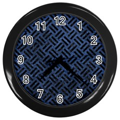Woven2 Black Marble & Blue Stone (r) Wall Clock (black) by trendistuff
