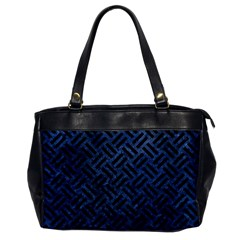 Woven2 Black Marble & Blue Stone (r) Oversize Office Handbag by trendistuff