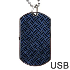 Woven2 Black Marble & Blue Stone (r) Dog Tag Usb Flash (one Side) by trendistuff