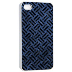 Woven2 Black Marble & Blue Stone (r) Apple Iphone 4/4s Seamless Case (white) by trendistuff