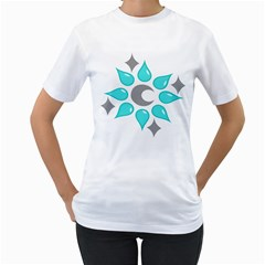 Moon Water Star Grey Blue Women s T Shirt (white) (two Sided)