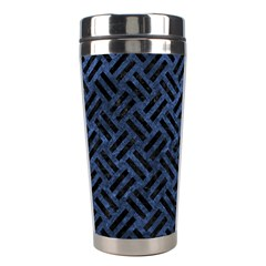 Woven2 Black Marble & Blue Stone (r) Stainless Steel Travel Tumbler by trendistuff