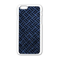 Woven2 Black Marble & Blue Stone (r) Apple Iphone 6/6s White Enamel Case by trendistuff