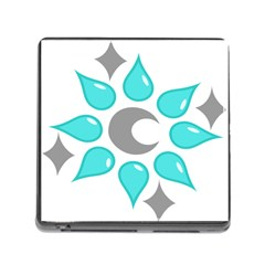 Moon Water Star Grey Blue Memory Card Reader (square) by Alisyart