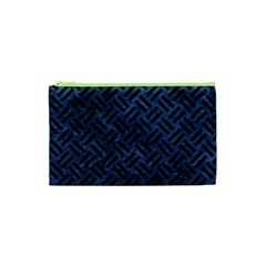 Woven2 Black Marble & Blue Stone (r) Cosmetic Bag (xs)