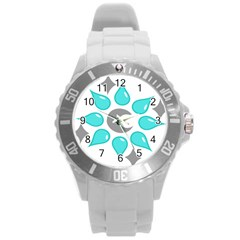 Moon Water Star Grey Blue Round Plastic Sport Watch (l) by Alisyart