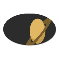 Saturn Ring Planet Space Orange Oval Magnet by Alisyart