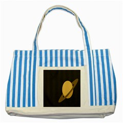Saturn Ring Planet Space Orange Striped Blue Tote Bag by Alisyart