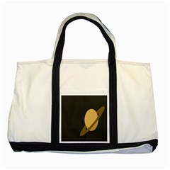 Saturn Ring Planet Space Orange Two Tone Tote Bag by Alisyart