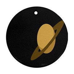 Saturn Ring Planet Space Orange Round Ornament (two Sides) by Alisyart