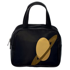 Saturn Ring Planet Space Orange Classic Handbags (one Side) by Alisyart