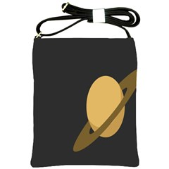 Saturn Ring Planet Space Orange Shoulder Sling Bags by Alisyart