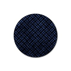 Woven2 Black Marble & Blue Stone Rubber Coaster (round) by trendistuff