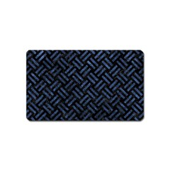 Woven2 Black Marble & Blue Stone Magnet (name Card) by trendistuff