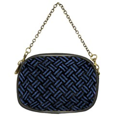 Woven2 Black Marble & Blue Stone Chain Purse (one Side) by trendistuff