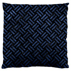 Woven2 Black Marble & Blue Stone Large Cushion Case (one Side) by trendistuff