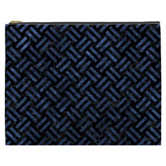 Woven2 Black Marble & Blue Stone Cosmetic Bag (xxxl) by trendistuff