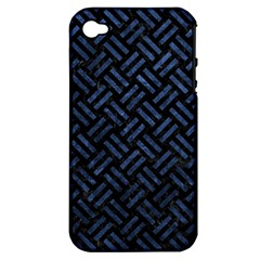 Woven2 Black Marble & Blue Stone Apple Iphone 4/4s Hardshell Case (pc+silicone) by trendistuff