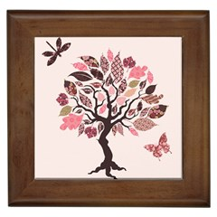 Tree Butterfly Insect Leaf Pink Framed Tiles by Alisyart