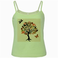 Tree Butterfly Insect Leaf Pink Green Spaghetti Tank by Alisyart