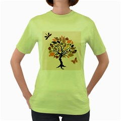 Tree Butterfly Insect Leaf Pink Women s Green T Shirt by Alisyart