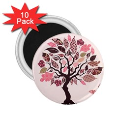 Tree Butterfly Insect Leaf Pink 2 25  Magnets (10 Pack)  by Alisyart