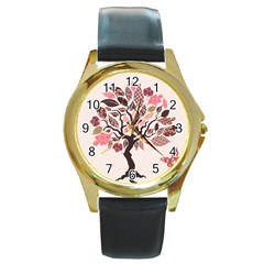 Tree Butterfly Insect Leaf Pink Round Gold Metal Watch by Alisyart