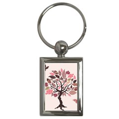 Tree Butterfly Insect Leaf Pink Key Chains (rectangle)