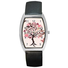 Tree Butterfly Insect Leaf Pink Barrel Style Metal Watch by Alisyart