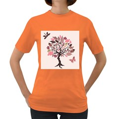 Tree Butterfly Insect Leaf Pink Women s Dark T Shirt by Alisyart