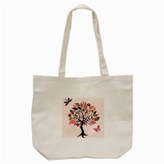 Tree Butterfly Insect Leaf Pink Tote Bag (cream) by Alisyart