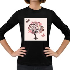 Tree Butterfly Insect Leaf Pink Women s Long Sleeve Dark T Shirts by Alisyart