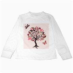 Tree Butterfly Insect Leaf Pink Kids Long Sleeve T Shirts by Alisyart