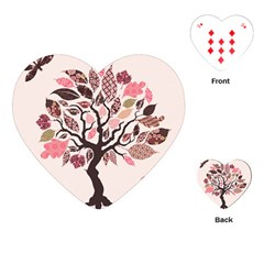 Tree Butterfly Insect Leaf Pink Playing Cards (heart)