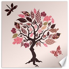 Tree Butterfly Insect Leaf Pink Canvas 16  X 16