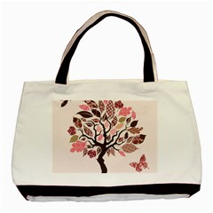 Tree Butterfly Insect Leaf Pink Basic Tote Bag (two Sides) by Alisyart