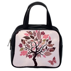 Tree Butterfly Insect Leaf Pink Classic Handbags (one Side) by Alisyart