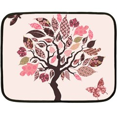 Tree Butterfly Insect Leaf Pink Double Sided Fleece Blanket (mini)