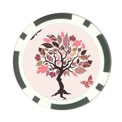 Tree Butterfly Insect Leaf Pink Poker Chip Card Guard (10 Pack)