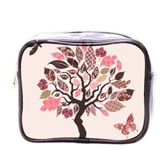 Tree Butterfly Insect Leaf Pink Mini Toiletries Bags by Alisyart