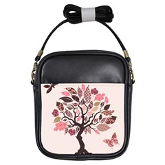 Tree Butterfly Insect Leaf Pink Girls Sling Bags by Alisyart