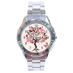 Tree Butterfly Insect Leaf Pink Stainless Steel Analogue Watch by Alisyart