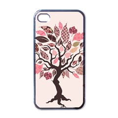 Tree Butterfly Insect Leaf Pink Apple Iphone 4 Case (black) by Alisyart