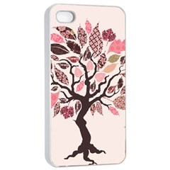 Tree Butterfly Insect Leaf Pink Apple Iphone 4/4s Seamless Case (white) by Alisyart