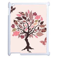 Tree Butterfly Insect Leaf Pink Apple Ipad 2 Case (white) by Alisyart