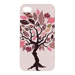 Tree Butterfly Insect Leaf Pink Apple Iphone 4/4s Premium Hardshell Case
