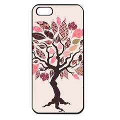 Tree Butterfly Insect Leaf Pink Apple Iphone 5 Seamless Case (black)