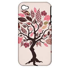 Tree Butterfly Insect Leaf Pink Apple Iphone 4/4s Hardshell Case (pc+silicone) by Alisyart