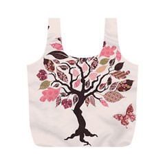 Tree Butterfly Insect Leaf Pink Full Print Recycle Bags (m)